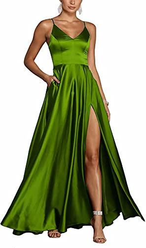 Vestido de Fiesta sin Mangas con Abertura con Cuello en V Elegante para Mujer Vestidos de Fiesta Formales con Tirantes Finos de satén Largo con Bolsillos