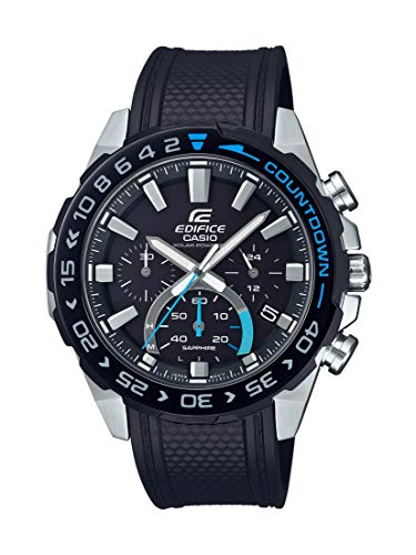 Casio Men's Edifice Stainless Steel Quartz Watch with Resin Strap, Black, 22 (Model: EFS-S550PB-1AVCR)