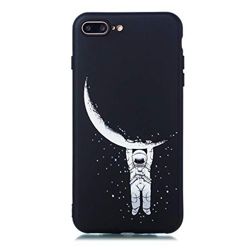 LAXIN Carcasa de silicona negra compatible con iPhone 7 Plus/8 Plus, diseño de galaxia mate, ultradelgada, a prueba de golpes, para niñas, niños, hombres, mujeres, luna.