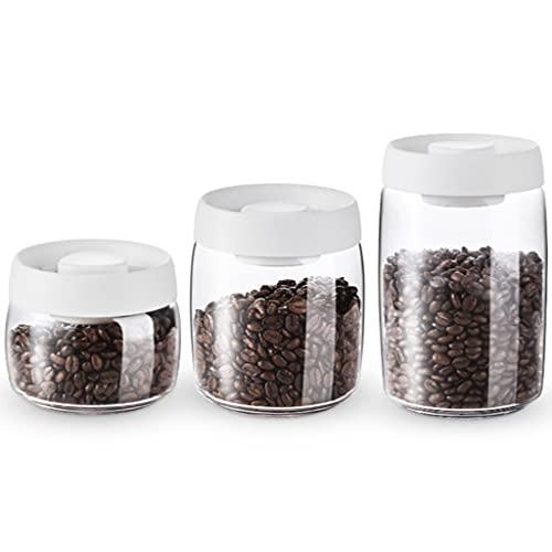 LTCTL Recipiente De Vacío para Café Y Almacenamiento De Alimentos Clear Glass Coffran Tarra De Conservación De La Conservación con (Color : Set of 3)