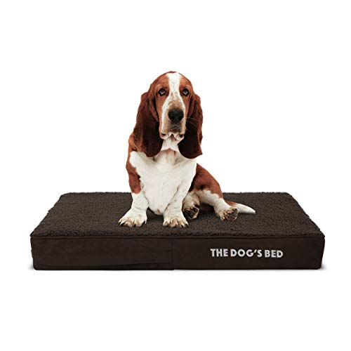 The Dog's Bed Orthopedic Dog Bed Medium Brown Plush 34x22, Premium Memory Foam, Pain Relief: Arthritis, Hip & Elbow Dysplasia, Post Surgery, Lameness, Supportive, Calming, Waterproof Washable Cover