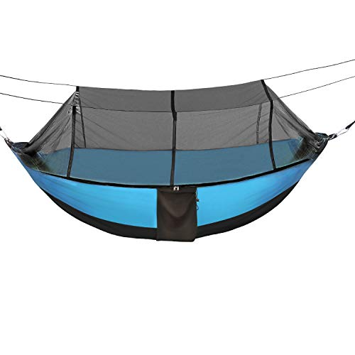 Sotech Lightweight Camping Hammock with Mosquito Net and Rainfly Cover (Sun Shelter UPF 50), to 1-2 Persons(Adult/2 Kids), Max Load 660lbs (Blue)