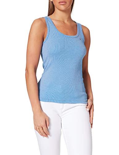 Tommy Hilfiger Slim Vertical STP Tank Top Camisa, Azul, M para Mujer