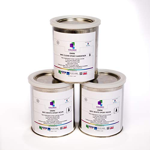 Coloredepoxies 10013 White Epoxy Resin Coating Made with Beautiful and Vibrant Pigments, 100% solids, For Garage Floors, Basements, Concrete and Plywood. 3 Quart Kit