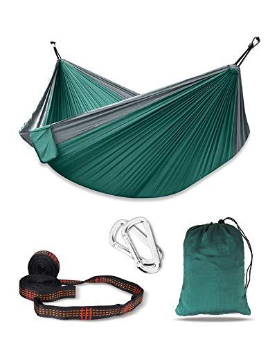 deepee Hamaca de Camping Hecho por tafetán de Nylon | 270 x 140 cm | Máxima Capacidad de Carga 300 kg | con Bolsa de Transporte | 2×Mosquetones Premium, 2×Eslingas de Nylon | Verde+Gris Plata