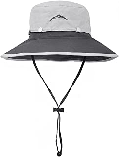 QYJpB-Hats Wide Brim Sun Hat,Summer UV Protection Beach Hat Showerproof Hat Foldable Fishing Hat,with Adjustable Chin Strap and Breathable Mesh Crown (Color : Gray)