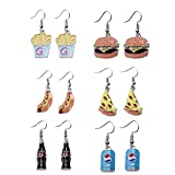 Pizza Hamburger French fries Hot dog Cola Novelty Food Stud Earring Set for Women Girls Jewelry Gifts 6 Pairs Pack