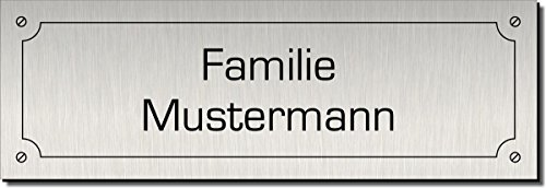 Türschild, Klingelschild, Namensschild, Briefkastenschild, Pokalschild, Typ:Silber 400-02 - 120x40 mm