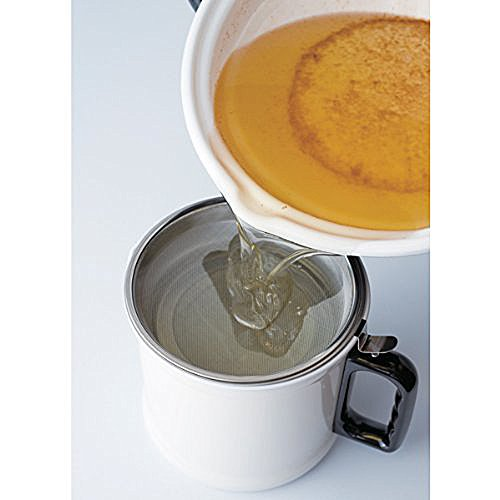 Fuji enamel tempura pot 24cm (2.8L) with thermometer TP-24 ? BK
