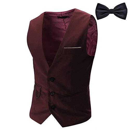YaoDgFa YaoDgFa Herren Weste Anzug + Fliege Smoking Sakko Anzugweste Herrenweste Herrenanzug slim fit Hochzeit feierlich Elegant, Wein Rot, XL