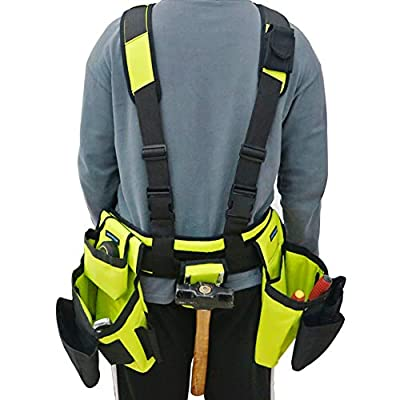 BHTOP Tool Belt Bag, Combo Apron Tool Bags and Suspenders, Professional Comfort Rig,Adjustable System Work Gear in Yellow by BHTOP