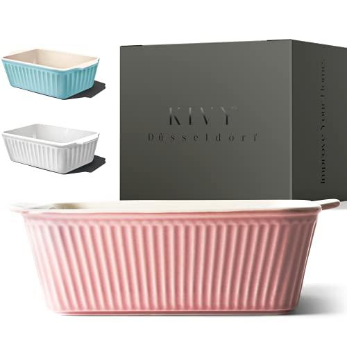 KIVY® Auflaufform Klein - Ideal für 1-2 Personen - Lasagne Auflaufform Klein - Auflaufform Keramik Klein - Lasagneform klein - Ofenform rechteckig - Tiramisu Form - Rosa