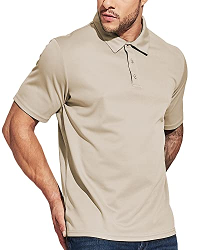 MIER Men's Quick Dry Polo Shirts Polyester Casual Collared Shirts Short Sleeve, Moisture-Wicking, Sun Protection, Khaki, S
