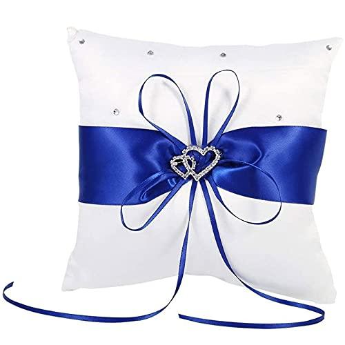 Almohada de Anillo de Boda De Novia Cinta Decorativa Almohada Anillo Almohada para Anillo de Bodas de SatéN para La Boda Blanco, Ceremonia de La Boda DecoracióN del Hogar Double Heart