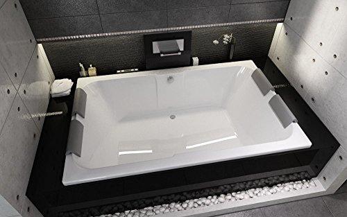 bestshop24.eu Exclusive LINE® Rechteckwanne Badewanne RIHO Sobek Badewanne für Zwei 180 x 115 cm mit 4X Kopfstütze + Füße + Ablauf Viega Simplex