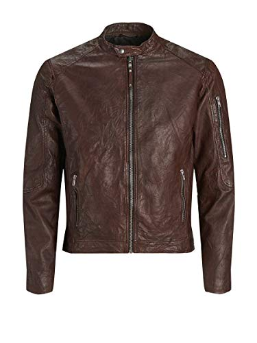 JACK & JONES Jprrichard Clean Leather Jacket STS Chaqueta, Marrón (Brown Stone), X-Large para Hombre
