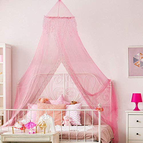 Home and More Store Princess Bed Canopy - Beautiful Silver Sequined Childrens Bed Canopy in Pink - Single Bed