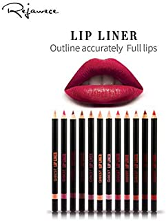 Lip Liner Filler Pencil set by Rejawece, Long Lasting Matte Waterproof Sweat-Proof Lipliner Pen Set with 12 Colors Color Enhancer, Plumper Pencil  Define Lips for a Fuller Look Perfect