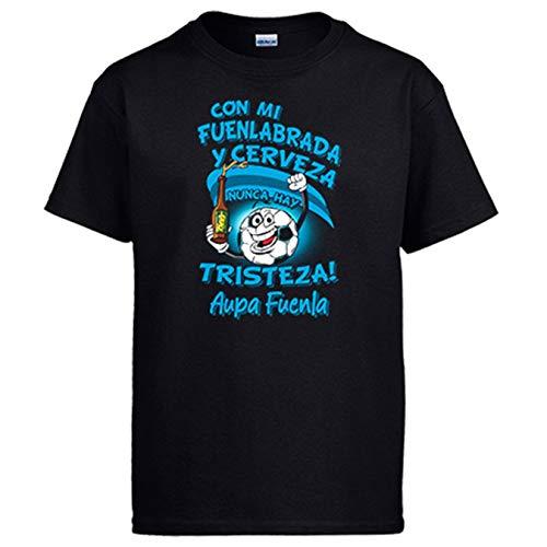 Diver Bebé Camiseta Frase con mi Fuenlabrada y Cerveza Nunca Hay Tristeza Fuenla fútbol - Negro, 9-11 años