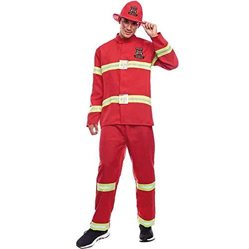 Disfraz Bombero Hombre Uniforme con GorroTallas Adultos de S a L[Talla L] Disfraz Carnaval Hombre Profesiones Uniforme Polica Desfiles Teatro Actuaciones Regalo