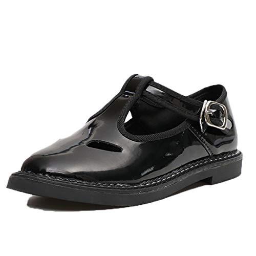Vrouwen Lakleer Mary Jane Schoenen Uitgehold Ademende Flats Fashion Casual Zwarte Mocassins Retro Ronde Neus Gesp Creepers Schoenen