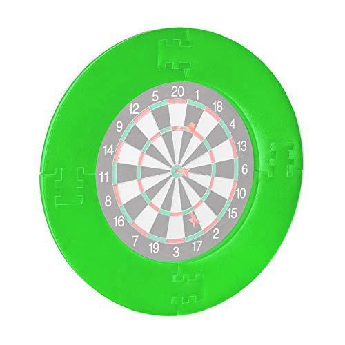 Relaxdays Marco para Diana Dardos, 4 Piezas, Anillo Protector para Dartboard de 45 cm, EVA, diámetro de 72 cm, Color Verde, Unisex niño, 1 Unidad