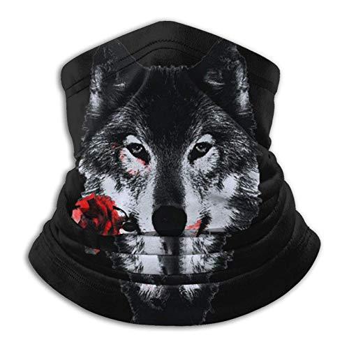 Turbante básico para la cabeza, bufanda, mitad, pasamontañas, bandana, polaina, lobo salvaje con rosas suave calentador de cuello pasamontañas capucha para motocicleta, ciclismo, snowboard, diademas
