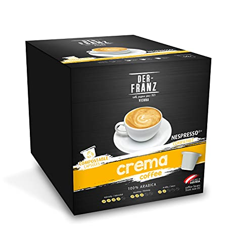 DER-FRANZ Crema Kaffeekapseln, mit Nespresso kompatibel, 100% kompostierbar, 50 Kapseln