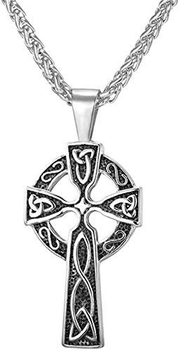 YOUZYHG co.,ltd Halskette mit gekreuztem irischen Knoten für Männer Halskette mit Triquetra Edelstahl Anhänger mit dreifachem Odin Horn