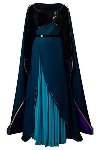 lancoszp Anna Vestido de Seda Azul con Falda Plisada y Capa de Terciopelo Dorado hasta el Suelo Disfraz de Cosplay para Adultos
