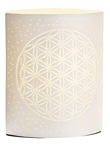 GILDE Lampe Lebensblume - aus Porzellan mit Lochmuster im Prickellook H 20 cm