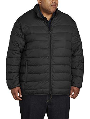 Amazon Essentials Men's Big & Tall Lightweight Water-Resistant Packable Puffer Jacket, Black, 2X