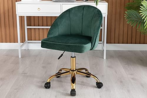 Porthos Home Cabot Velvet Desk Chairs, Circular Back and Gold Legs