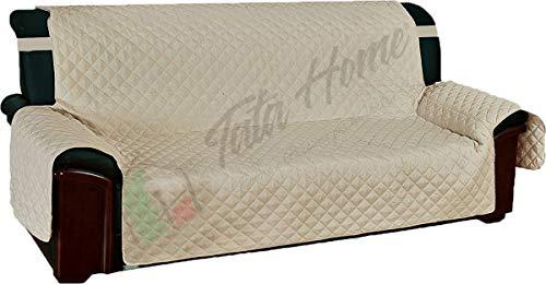 Tata Home Copridivano Trapuntato con Elastici Antiscivolo in Microfibra Resistente 3 Posti Beige