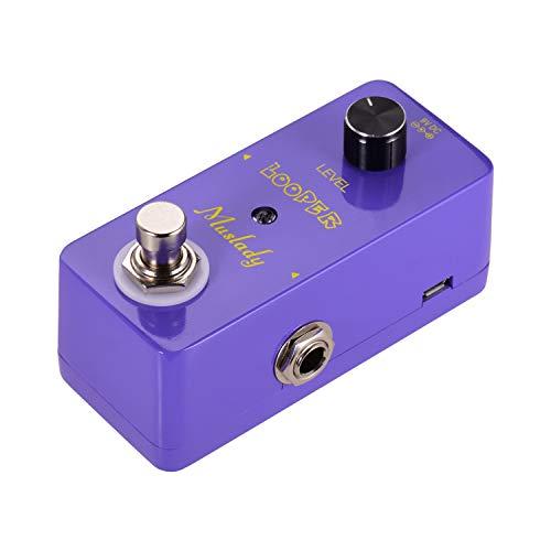 Entweg Pedal de efecto looper, mini looper loopers Pedal de efecto de guitarra Sobregrabaciones de bucle de pedal bajo Tiempo de bucle ilimitado 5 minutos con interfaz USB púrpura