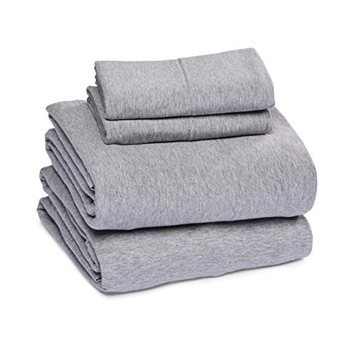AmazonBasics, Juego de sábanas de jersey jaspeado, gris claro, matrimonial
