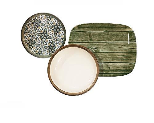 REPLOOD Vajilla de 18 piezas para 6 personas de porcelana modelo verde y madera