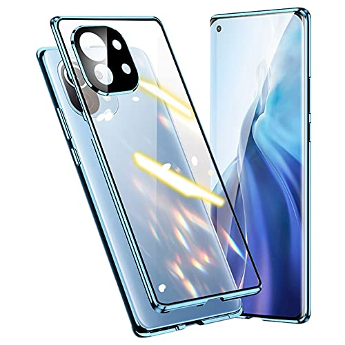 Funda para Xaomi Mi 11 5G magnética de 360 grados Full Body antigolpes [con protección para objetivo de la cámara] parte trasera y delantera transparente cristal templado antiarañazos funda azul