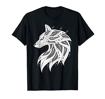 Ethnic Tribal Boho Wolf Head Silhouette T-Shirt