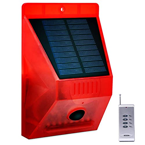 Solar Strobe Light with Remote Controller, RISOON Solar Alarm Light with Motion Detector 129db Sound 24 Hours+Night Mode Security Siren Light IP65 Waterproof, Protect Your Home, Farm, Barn,Villa,Yard