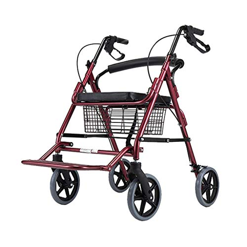 Práctico Bastidor para Caminar Andador Ligero Andador con Asiento, Canasta y Frenos - Andador Plegable con Ruedas 4 Ruedas - Andador para Adultos, Adultos Mayores, Ancianos y discapacitados, Rojo