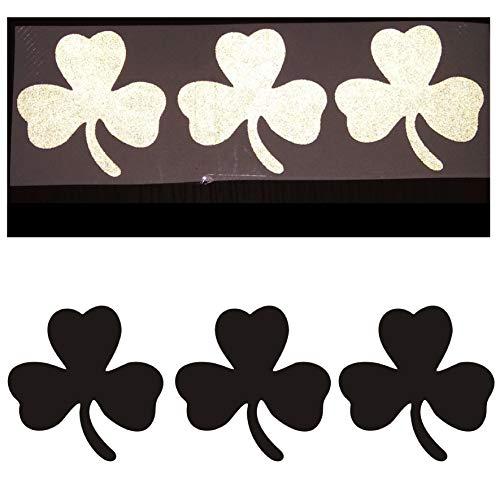 CUSHYSTORE 2' Shamrock 3-Leaf Clover Reflective Decals Vinyl Sticker for Bike Car Hardhat Laptop Black Reflects White, 3 Pack
