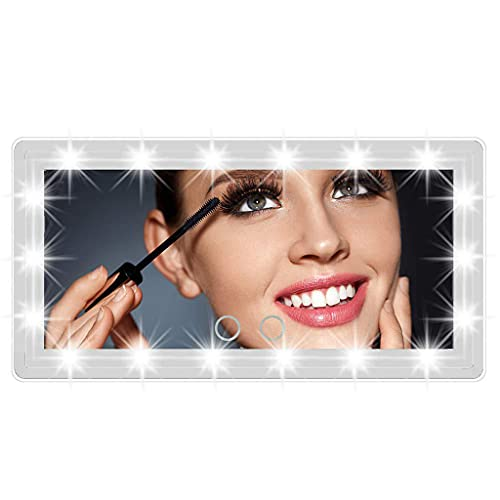 CUCUDAI Espelho automotivo Vanity com 60 luzes LED para todos os fins, carregador USB, tela sensível ao toque, espelho de viagem, espelho B