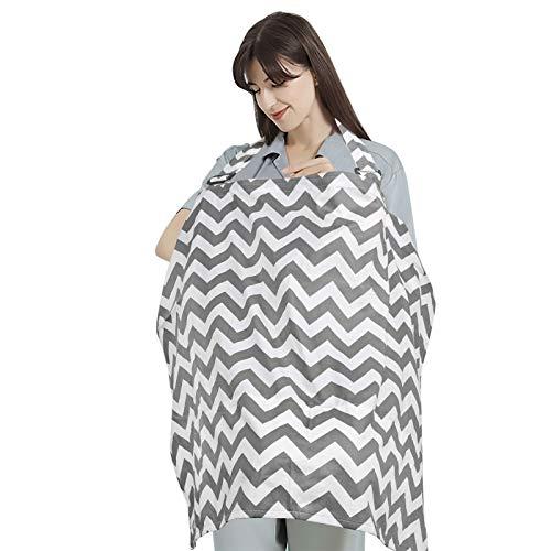 Ballery Manta Lactancia Cubierta, 100% Algodón Cubierta de Lactancia Materna Panuelo Lactancia Mantas Lactancia Pañuelo Lactancia para Protección Completa de la Lactancia Materna - Gris