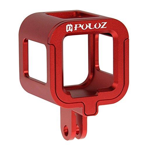 Carcasa PULUZ® a prueba de golpes con seguro de aleación de aluminio, carcasa protectora con seguro de la parte trasera para GoPro Hero5Session, Hero4Session., para GoPro HERO5 Session, GoPro HERO4 Session, color Red