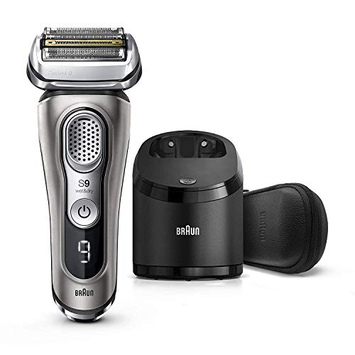 Braun Electric Razor for Men, Series 9 9385cc, Electric Shaver, Precision Trimmer, Rechargeable, Cordless, Wet & Dry Foil Shaver, Clean & Charge Station and Leather Travel Case