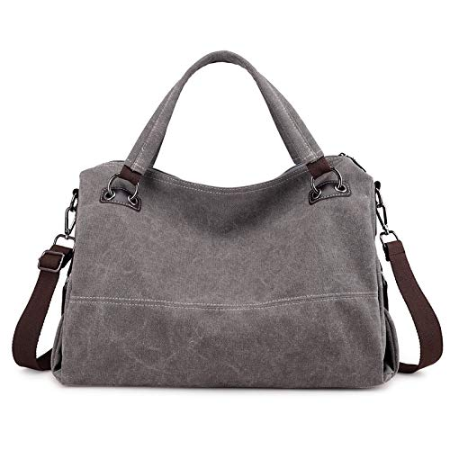 SUNXK European and American retro casual canvas bag handbag simple large capacity Ms. shoulder portable Messenger bag ethnic style theatrical package (Color : Fashion gray, Size : 43X30X17CM)