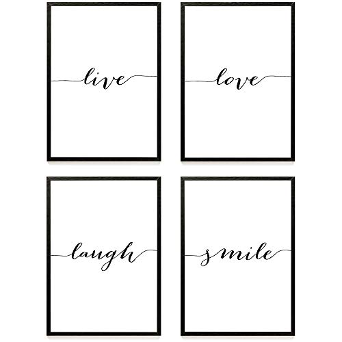 Heimlich ® Premium Poster Set | Stilvolles Set mit passenden Bilder in Schwarz-Weiß | 4 Stück in DIN A4 (21x30cm) | Ohne Bilderrahmen » Live Love «