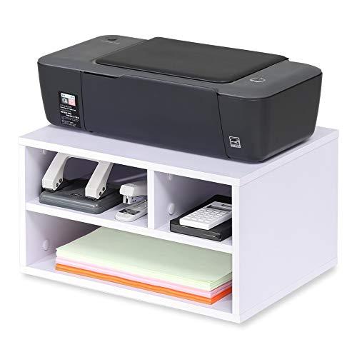 FITUEYES Supporto per Stampante Legno Bianco con 3 Scomparti Organizer da Scrivania per Ufficio e Casa 40x30x22cm DO304005WW