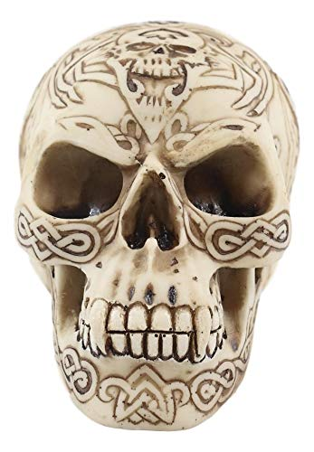 Ebros Gift Day of The Dead Celtic Knotwork Tribal Tattoo Vampire Fanged Skull Decorative Figurine 4.75' L Ossuary Macabre Halloween Gothic Skulls Craniums